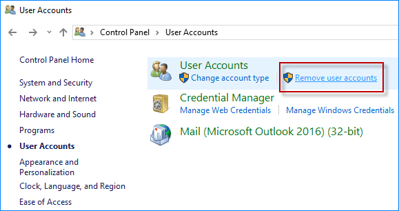How do I remove a Microsoft account from Windows 10 without the delete button?