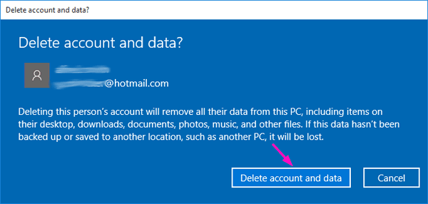 How do I remove my account from Windows 10?